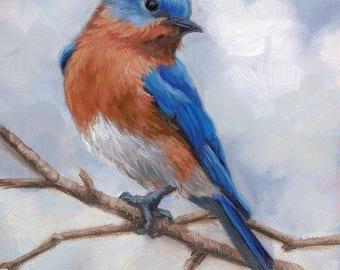 Bluebird - Eastern bluebird - bird painting - Bluebird painting - giclee print - Open edition print - bird print