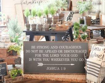 2'X4' Be Strong And Courageous Joshua 1:9 Arrow Framed Wood Sign Nursery Decor