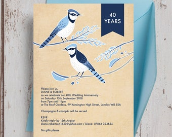 Personalised Painted Birds Wedding Anniversary 25th 30th 40th 50th 60th Invitations with Envelopes