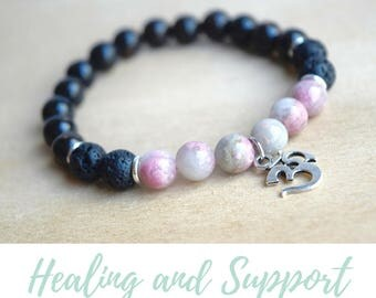 Obsidian Bracelet / grounding jewelry, energy bracelet, protection bracelet, love stone bracelet, healing gift for yogi, rhodonite bracelet