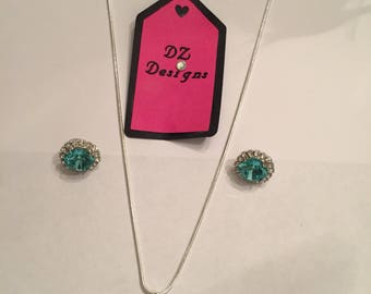 Swarovski Crystal Necklace, and Earring set- Light Turquoise 12 mm