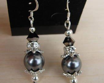 Earring Swarovski silver night and grey pearls Sterling silver 925 earrings