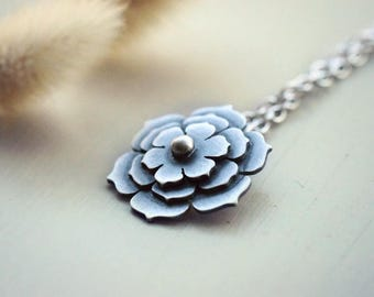 Sterling silver necklace,flower necklace,925 silver necklace,flower pendant,silver flower,silver pendant,boho,gypsy,gift for her