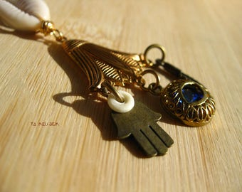The Gypsy | Cowrie Shell Protection Amulet | Protection Ward | Cowrie Shell Choker | Vintage German Glass | Hamsa Pendant
