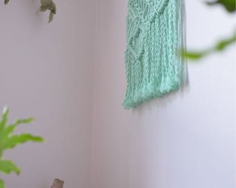 Macrame wall hanging, large headboard macrame, macrame weaving, bohemian decor, macrame wall hanging, driftwood, surf decor, mint color
