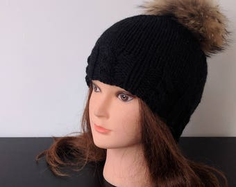 Womens winter hat - Beanie - Knit hat – Hat for women - Wool hat - Bobble hat - Pom pom hat - Beanie for women - Winter cap - Black hat