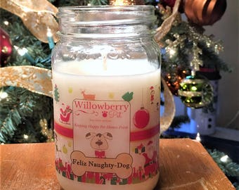 Holiday Candles, Holiday Decor, Candles For Christmas, Gift Box Candle, Holiday Gifts, Pet Candles, Holiday Hostess Gifts, feliz naughty dog