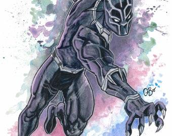 "Black Panther 11x15"" original watercolor painting."