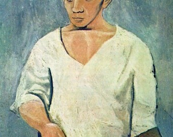 "Original Vintage Pablo Picasso Print ""Self-Portrait"" Book Plate"