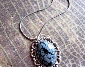 Snowflake Obsidian Necklace, Snowflake Obsidian Jewelry, Energy Healing Crystal Necklace, New Age Necklace, Semiprecious Stone Necklace