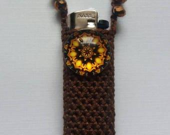 The mandala effect. Handmade crochet lightercozy.