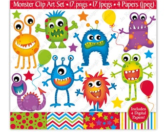 Monster Clipart,Monster Digital Papers,Monster Clip Art,Alien Clipart,Monster Party,Monsters,Fun Digital Papers,Scrapbooking,Commercial Use