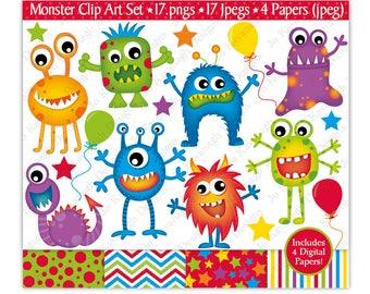 Monster Clip Art, Monster Digital Papers,Monster Clipart, Alien Clipart, Monster Party,Monsters, Fun Digital Papers, Scrapbooking,Commercial