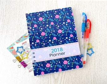 Monthly weekly planner 2018 Spiral planner notebook Agenda weekly 2018 Diary Flowers planner Daily diary 2018 agenda Daily planner A5 book