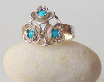 Vintage Sterling Silver Turquoise Ring, Blue Genuine Turquoise, Flower Turquoise Ring Size 6, Turquoise 925 Ring, Vintage Turquoise Jewelry