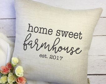 Home Sweet Farmhouse Pillow Cover - Housewarming Gift - New Home Gift - Farmhouse Decor - Personalized Pillow Cover - Gift for Her