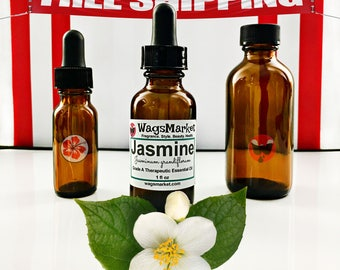 Jasmine Essential Oil - 0.5 - 2oz, Amber Glass Bottles. FREE SHIPPING in US