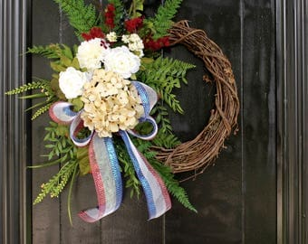 Fourth of July Wreath, Patriotic Wreath, Summer Wreath for Front Door, 4th of July Wreath, Rustic Wreath, Red White and Blue Wreath,
