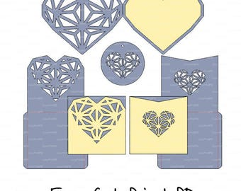 Laser Cut Templates, Geometric heart Invitation Card cutting files (svg, dxf, eps, cdr vector) Silhouette Cameo Cricut Instant Download
