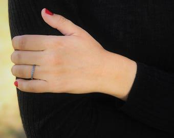 Stackable birthstone ring half eternity blue topaz ring simple everyday gemstone multistone jewelry march birthstone ring blue stone ring