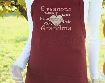 "Nana Grandma Grammy Custom designed + personalized Embroidered Apron 24""L x 28""W professional 3 pocket full bib."