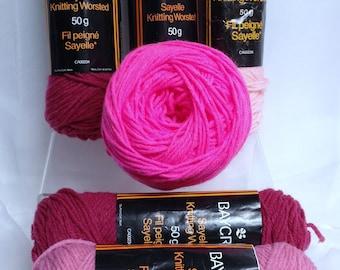 Pink Ombre Yarn Bundle, Hudson Bay Baycrest Sayelle Knitting Acrylic Worsted Yarn Destash, 6 Skeins of 4 Shades of Pink Yarn