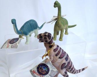 Set of Vintage Dinosaur Models Tyrannosaurus Rex T Rex Toy Apatosaurus Brachiosaurus Freestanding Dinosaurs for Diorama Prehistoric Toys