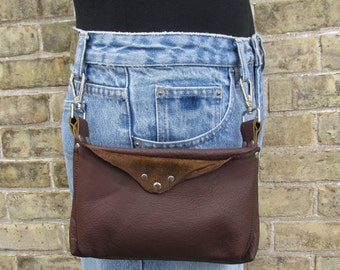 Leather Hip Bag, brown leather clip on belt loop bag, waist bag, biker hip pouch
