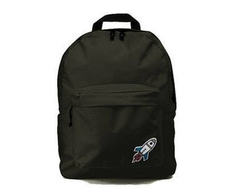 Black backpack with Rocket patch 33x41x19cm