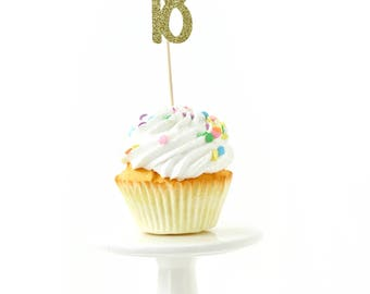 Number 18 Gold Glitter Cupcake Toppers, Number 18 Toothpicks, Gold Party Decor, Food Decoration, Eighteenth Birthday, 18th Birthday Eighteen
