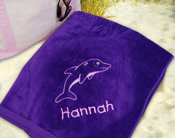 Embroidered Dolphin Beach Towel, Embroidered Dolphin With Name Towel, Personalized Beach Towel