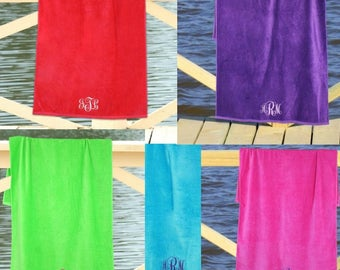 Embroidered Monogram Beach Towel, Monogrammed Towel, Personalized Beach Towel