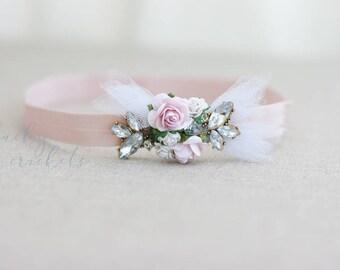 Flower Rhinestone Headband, Flower Girl Headband, Rhinestone Headband, Blush Headband, Baby Pink Headband, Pink Headband