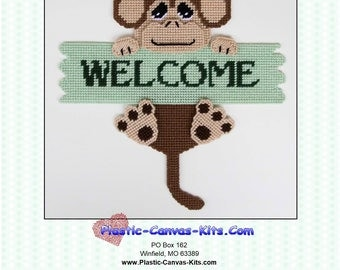 Monkey Welcome Sign-Plastic Canvas Pattern-PDF Download