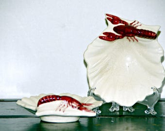 Lobster Shell Shaped Dish, Set of 2, Oyster Plate, Made in Japan, Nappy, Spoon Rest, Butter Dish, 1950s, 1960s, Beach Style, Vintage Decor