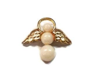 Gold & Faux Pearl Pinback Angel n My Shoulder Lapel Pin Guardian Angel Tie Tack Cherub Hat Pin