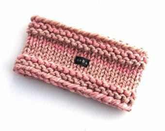 Dusty Rose Pink Hand Knitted Earwarmer Headband. Blush Pink Womens Ear Warmer. Chunky Knit Variegated Wool Blend Light/Pale Pink. Sizes S-XL