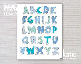 alphabet print - ABC print -  kids wall art - boys ABC - 8x10 print - instant art - printable art - freehand text - blue ABC