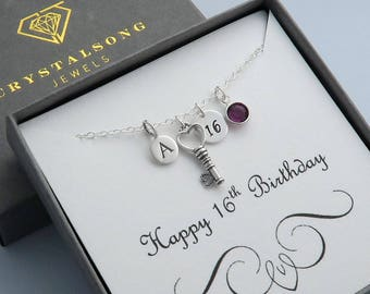 16th Birthday Charm Necklace In Sterling Silver, Personalized Birthday Necklace With Key Charm, Initial, Birthstone And Custom Message Card