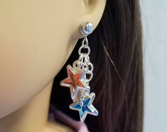 Pink and Aqua Stars Earrings for American Girl Doll Luciana Vega GOTY 2018 and other 18 inch dolls