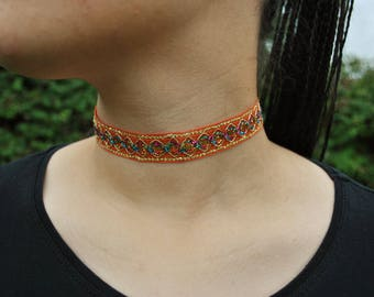 Orange, rainbow and gold choker sparkly necklace