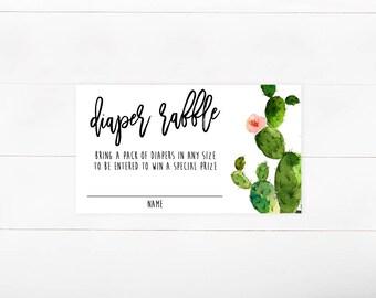 Diaper Raffle Insert, Diaper Shower, Cactus Watercolor (728)