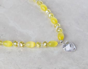 Lemon Yellow Crystal Heart Beaded 3 Piece Jewelry Set - Necklace, Bracelet, and Earrings