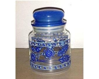 Vintage Blue Floral Apothecary Jar,Blue Cased Glass Lid,Blue Glass Flower Canister, Cased Glass Storage Jar,Blue, Flowers, Retro Kitchen