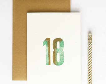 18th Birthday Letterpress Card