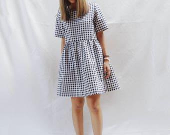 Gingham smock dress, Loose babydoll dress, Sun dress, Plaid dress