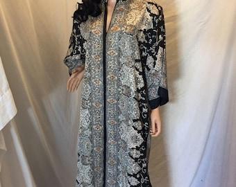 Vintage 80s Ruth Norman Neiman Marcus Caftan Dress Loungewear Mandarin Collar Size S