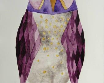 Owl art, whimsical art, original art, watercolor painting, modern nursery art, kids room art, nursery art, whimsical animal art, bird art
