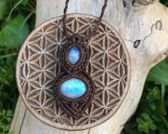 Rainbow moonstone crystal macrame necklace ~ double stone mystic goddess tribal fairy pendant