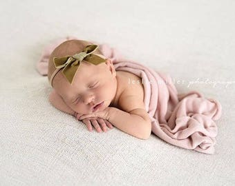 VINTAGE GOLD VINTAGE Velvet Hand-tied Bow (Headband or Clip)- velvet bow headband; velvet bow; newborn headband; baby headband; toddler bow